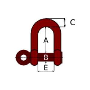 cotas y dimensiones del grillete de alta resistencia racto con bulón roscado