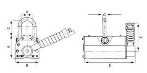 Cotas para el sistema de elevación magnético manual
