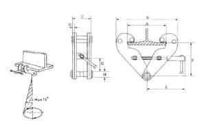 Cotas y medidas para pinza de anclaje vigas y polipastos