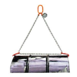 Muestra de empleo del gancho para bidones en horizontal