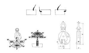 Garras Articuladas provista de una anilla de elevación dimensiones, cotas y modo de uso
