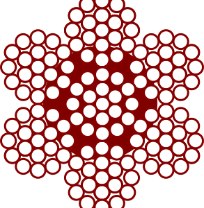 Cable de acero Composición de 7 x 19 + 0