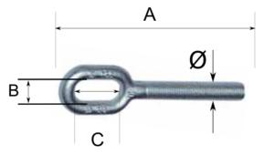 Cáncamo para tensor en acero galvanizado