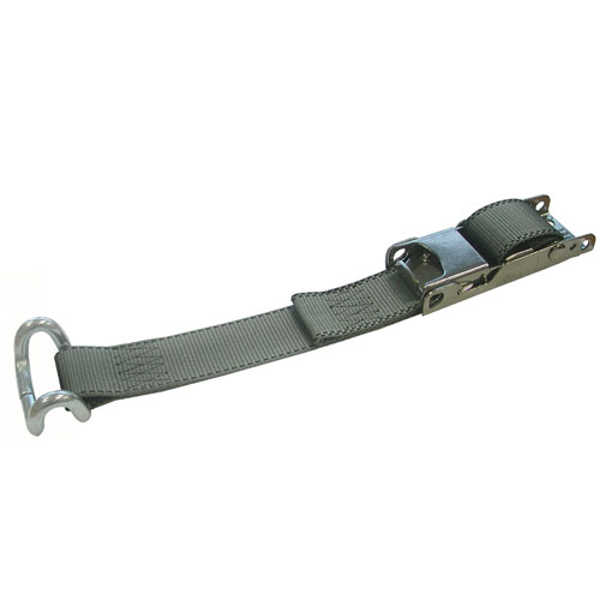 Cinturón toldo con seguro 45mm AISI 304. Cinta 90mm poliéster gris. Largo cinta 0.90 m. Gancho chasis cerrado
