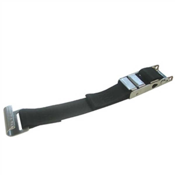 Cinturón toldo con seguro 45mm AISI 304. Cinta 90mm polipropileno negro. Gancho plano acero inoxidable.