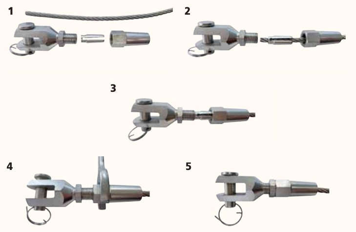 Terminales Manuales cable entero inoxidable Instrucciones de uso y montaje