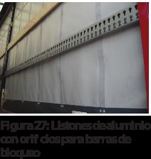 Figura 27: Listones de aluminio con orificios para barras de bloqueo